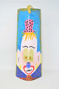 Tegola To Hang Hand Painted Clown With Light 46x18 Cm