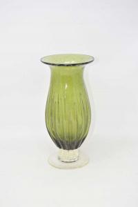 Glass Vase Blown Green 25 Cm