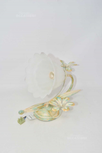 Glass Lamp Satin With Pair Flowers