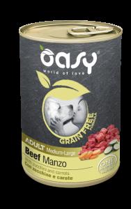 OASY UMIDO GRAIN FREE ADULT MANZO CON ZUCCHINE E CAROTE 400 GR