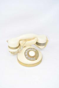 Telefono Vintage Telcer Color Avorio E Ottone