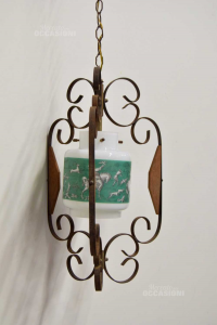 Chandelier Iron Structure With Glass White And Green 40 Cm