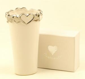 Vaso piccolo  in porcellana bianca Cuorematto cod. D5016