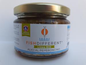 Alici Al Peperoncino bio 250 gr della ditta Calabriattica di Anoia (RC)