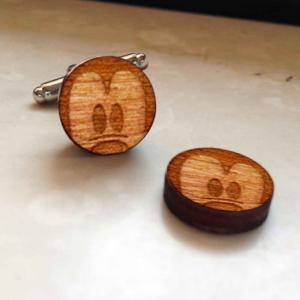 Gemelli da polso in legno noce TOPOLINO