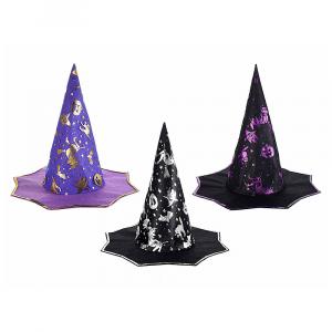Cappello da strega stoffa con decori Halloween metallizzati