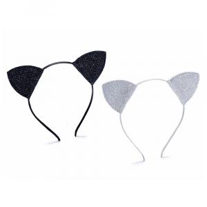 Cerchietto rivestito in raso con orecchie di gatto con glitter