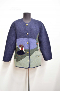 Jacket Woman In Wool Cooked Giesswein Blue Size 44 With Inserts