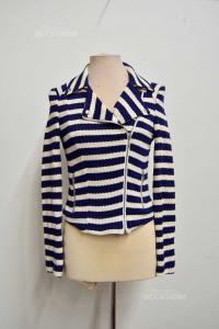 Jacket Woman Promod Size S Lines White Blue