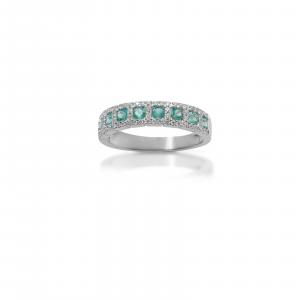 Anello in Oro Bianco con Smeraldi e Diamanti taglio Brillante - Gianni Carità