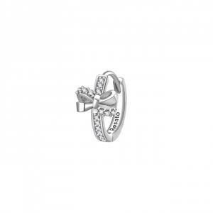 Orecchino cerchietto fiocco Rosato in argento 925 con zirconi RZO063R