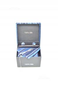 Set Caravatta Fazzoletto Gemelli E Fermacravatta Azzurro Blu 100%seta