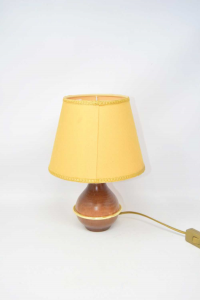 Abat Jour Wood With Lampshade Yellow 30 Cm Height