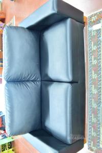 Sofa Faux Leather Black 2 Seats