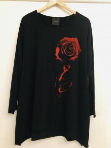 Maglia donna  nera con motivo fiore  in cotone  manica lunga  scollo tondo  made in italy