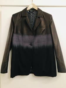 Blazer donna  in pelle e lana sfumata  chiusura con bottoni  con taschino frontale  made in italy