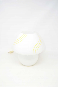 Table Lamp Glass White With Pattern Lines Yellow 27 Cm Height