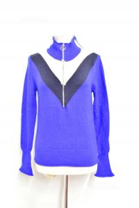 Sweater Woman Blue Zara Knit Size L New