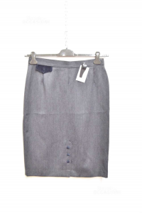 Skirt Woman Grey Andrea Sea Size 48 Made In Italy