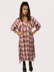 Vestito con fantasia a rombi | colore Malva/Bordeaux | Marca Jijil