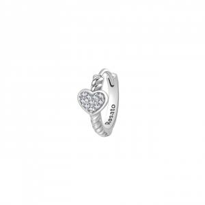 Orecchino cerchietto cuore Rosato in argento 925 con zirconi RZO064R