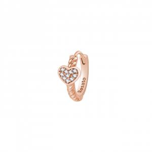 Orecchino cerchietto cuore Rosato in argento 925 rosè con zirconi RZO064