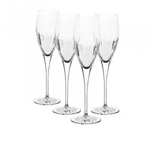 Linea Diamante Set 4 Calici Per Champagne Prosecco Flute In Vetro Trasparente Brillante Confezione Collezione Bicchieri Casa Cucina