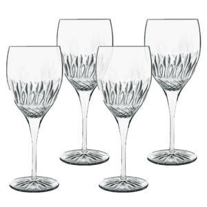 Linea Diamante Set 4 Calici Da Vino Chianti Decorati In Vetro Trasparente Raffinato Casa Cucina Collezione Bicchieri