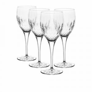Linea Diamante Riesling Set 4 Calici In Vetro Trasparente Decorato Raffinato Collezione Bicchieri Casa