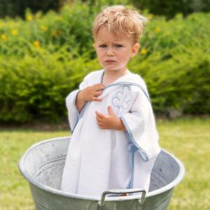 Poncho per bambini Personalizzabile - Bianco naturale/Polvere
