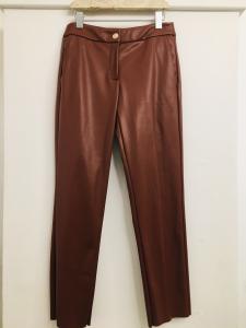 Pantalone donna  pantalone ecopelle  bordeaux  con con taschino  made in italy