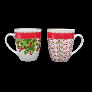Brandani 2 tazze mug porcellana decoro bacche