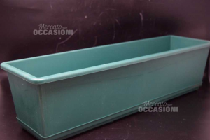 Flower Pot In Plastic Green Rectangular With Saucers Size 60x17 Cm