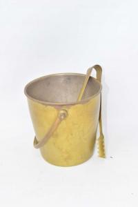 Bucket Holder Ice Vintage Brass Height 13 Cm With Pizetta
