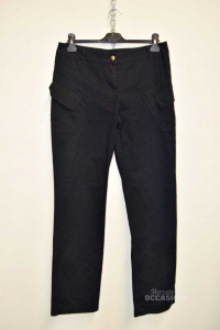 Trousers Woman With Pockets Color Blue Size 46 Saint André Made In Italy