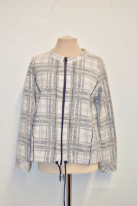 Jacket Woman White Square Blue And Blue Brand Cecil Size L