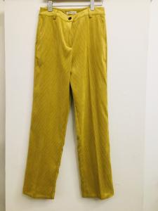 Pantalone donna  in velluto millerighe  giallo  con tasche frontali   made in Italy