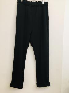 Pantalone donna  in felpa  nero  con tasca posteriore  modello baggy  made in italy