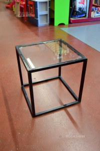 Table Square Iron Black With Glass Plane