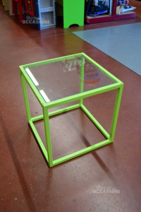 Table Square Iron Fluo With Glass Plane