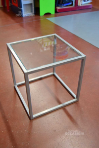 Table Square Iron Gray With Glass Plane