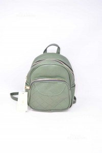 Backpack Woman Herisson In Faux Leather Green New