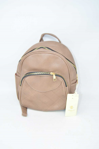 Backpack Woman Herisson In Faux Leather Brown New