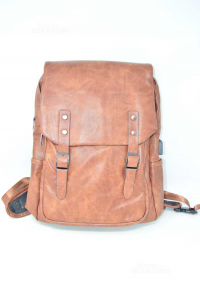 Backpack Professional In Faux Leather Brown With Socket Usb New