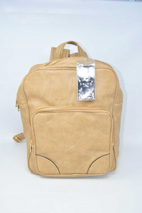 Backpack Professional In Faux Leather Beige New