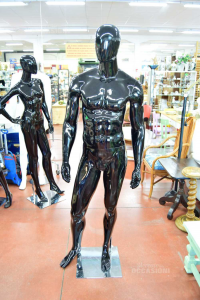 Manichino Uomo Da Esposizione Nero Lucido Con Testa E Mani