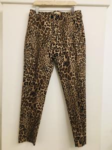 Pantalone donna  fantasia animalier  taglio a sigaretta con due tasche frontali  made in Italy