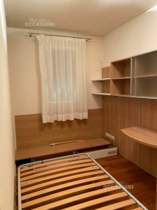 Room Bed To Square And Middle + Wardrobe And Structure With Desk And Libreria
