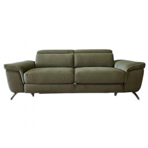 RAFFLESIA - Divano letto con cassettone o carrello dal design moderno con piedini cromati e poggiatesta regolabili