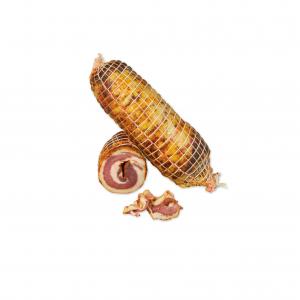 Pancetta Arrotolata di Suino Nero d'Aspromonte allevato allo stato semibrado. Il Piccolo Salumificio di Bruno Piccolo Locri (RC)
